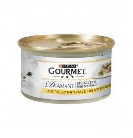 Purina gourmet diamant gatto sfilaccetti con pollo delicato da 85 gr in lattina