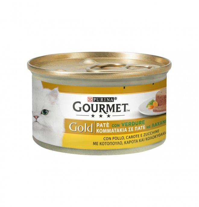 Purina gourmet gold gatto pate' al pollo carote e zucchine da 85 gr in lattina