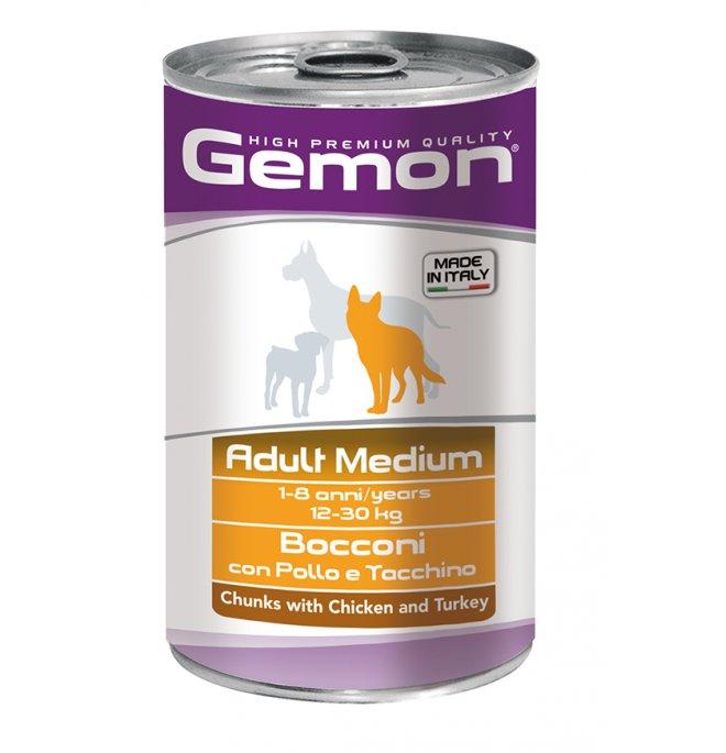 Monge cane gemon adult medium bocconi al pollo e tacchino da 1250 gr in lattina