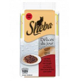 Sheba gatto selezione gustosa pollo manzo anatra - 2 buste omaggio 6 buste da 50 gr