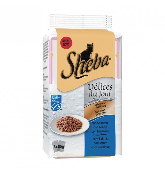 Sheba gatto selezione delices salmone tonno merluzzo - 2 buste omaggio 6 buste da 50 gr