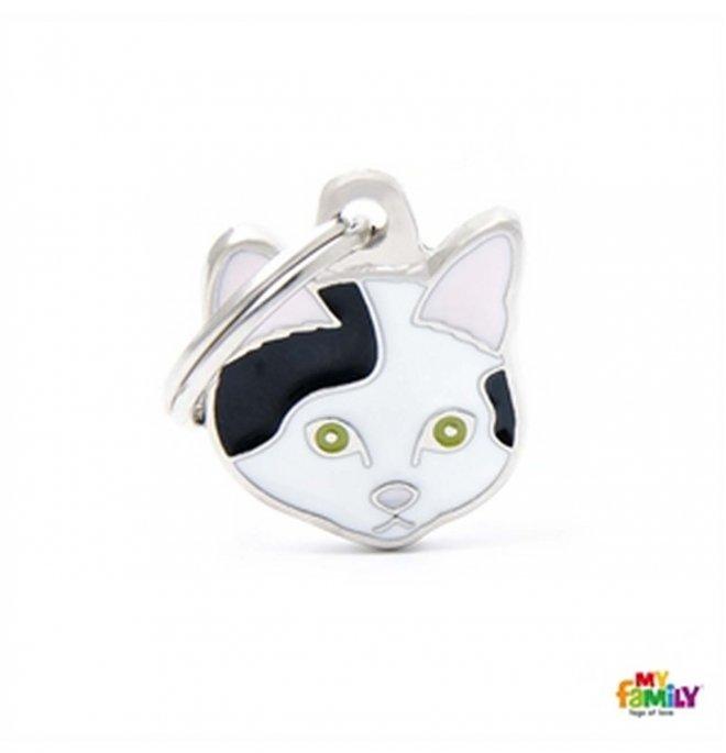 Medaglietta gatto europeo bianco e nero