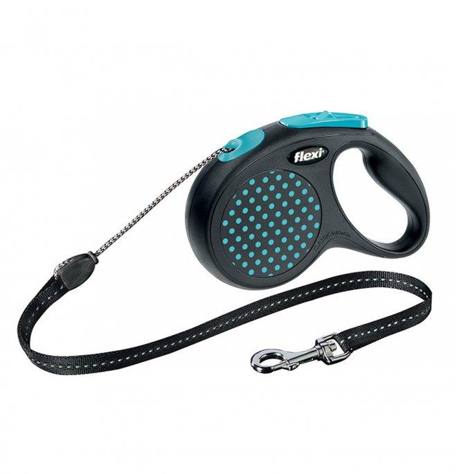 Flexi design corda s 5m max 12kg pois azzurro