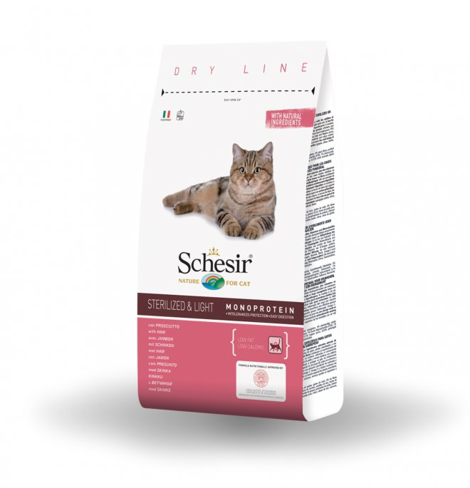 Agras schesir gatto adult sterilized & light con prosciutto da 1,5 kg