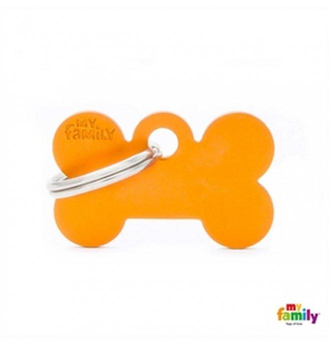 Medaglietta osso piccolo arancio alluminio
