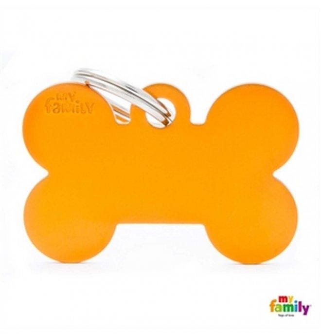 Medaglietta osso grande arancio alluminio