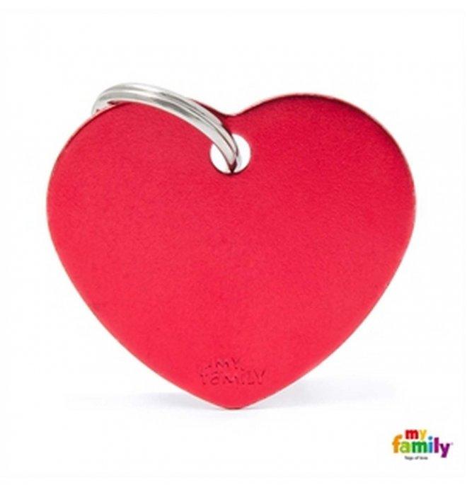 Medaglietta cuore grande rosso alluminio