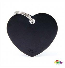 Medaglietta cuore grande nero alluminio