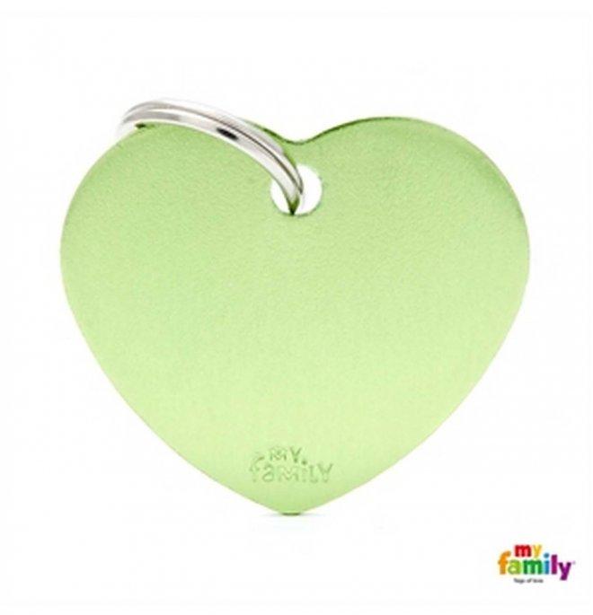 Medaglietta cuore grande verde alluminio