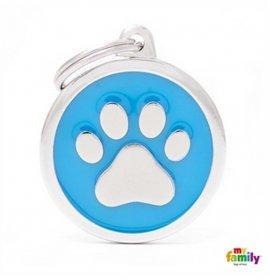 Medaglietta cerchio big blu zampa