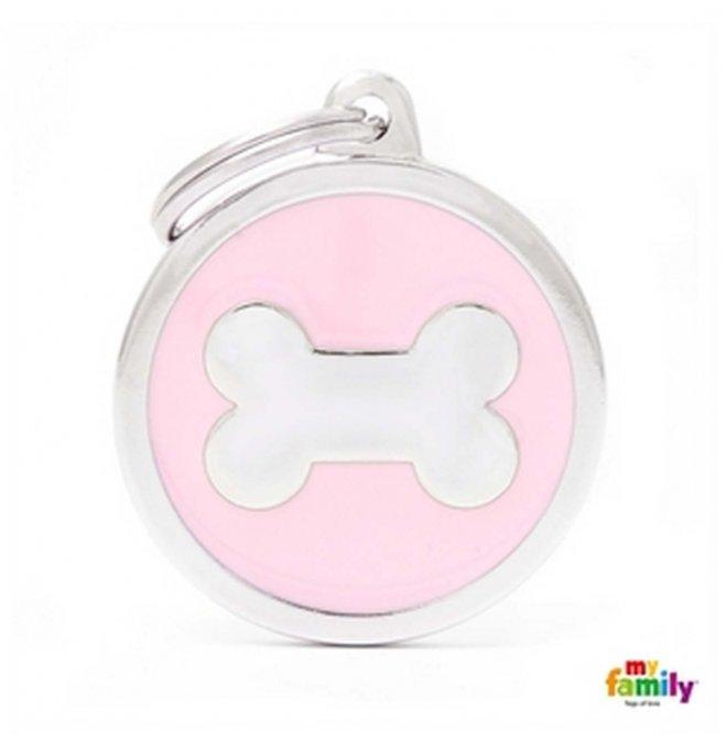 Medaglietta cerchio big rosa osso