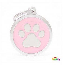 Medaglietta cerchio big rosa zampa