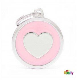 Medaglietta cerchio big rosa cuore