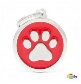 Medaglietta cerchio big rosso zampa