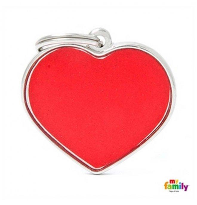 Medaglietta cuore grande reflective rosso