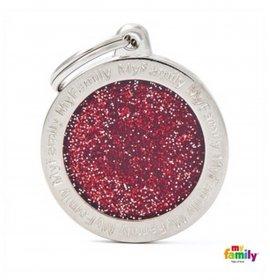 Medaglietta cerchio grande glitterato rosso