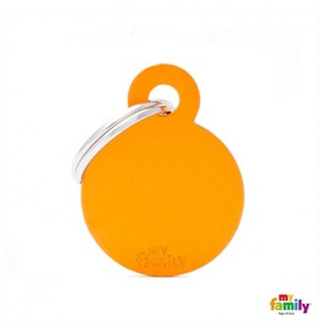 Medaglietta cerchio piccolo arancio alluminio