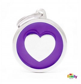 Medaglietta cerchio big viola cuore