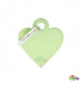 Medaglietta cuore piccolo verde alluminio