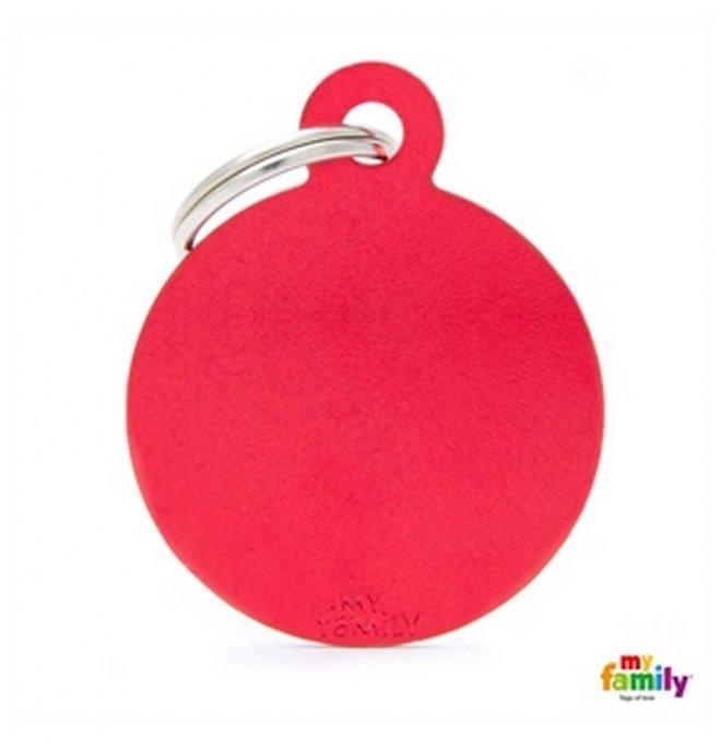 Medaglietta cerchio grande rosso alluminio