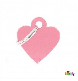 Medaglietta cuore piccolo rosa alluminio