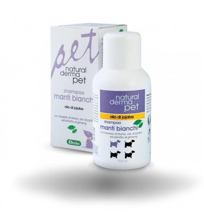 Derbe cane natural derma pet shampoo per manti bianchi da 200 ml