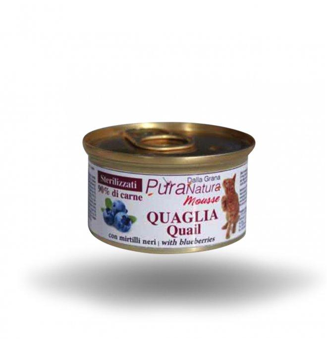 Dalla grana pura natura gatto sterilizzato mousse quaglia da 85 gr in lattina