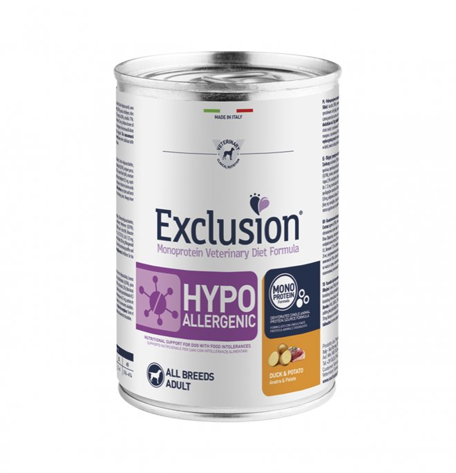 Dorado exclusion cane diet adult all breeds hypoallergenic anatra e patate da 400 gr in lattina