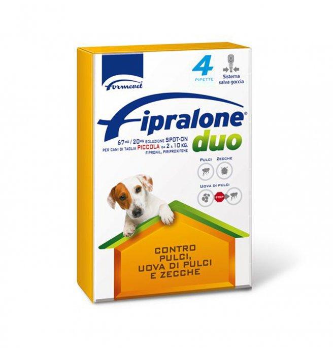 Formevet antiparassitario fipralone duo spot on per cani di taglia piccola da 2 a 10 kg 4 pipette da 0,67 ml