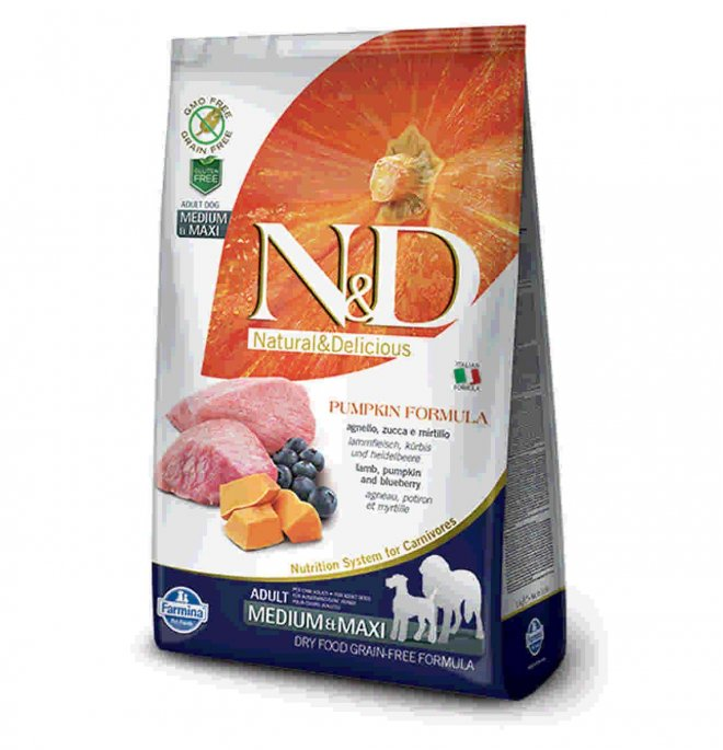 Farmina n&d delicious grain free cane adult medium & maxi con agnello zucca mirtillo da 2,5 kg