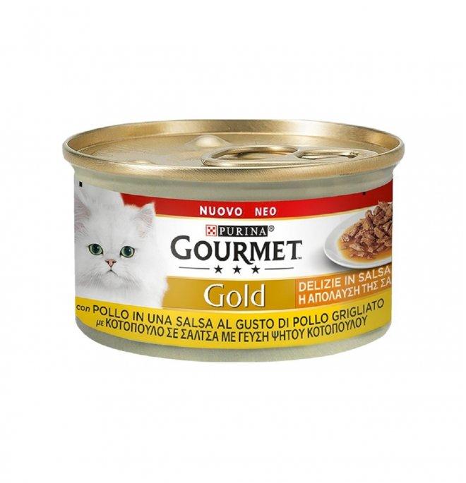 Purina gourmet gold gatto delizie in salsa con pollo grigliato da 85 g