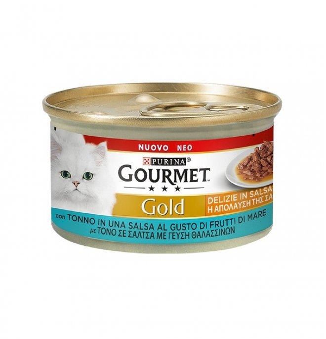 Purina gourmet gold gatto delizie in salsa con tonno in salsa al gusto di frutti di mare da 85 g