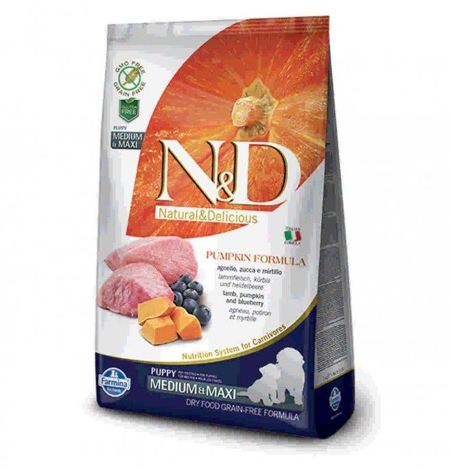 Farmina n&d delicious grain free cane puppy medium & maxi con agnello zucca mirtillo da 12 kg