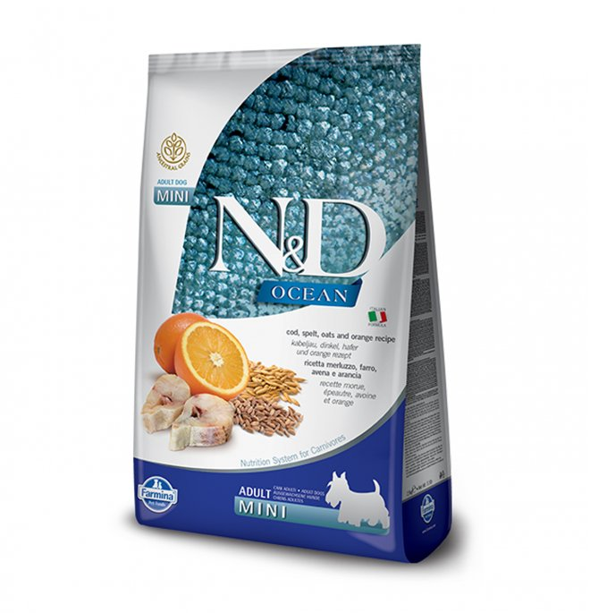Farmina n&d delicious low grain ocean cane adult mini con merluzzo e arancia da 800 gr