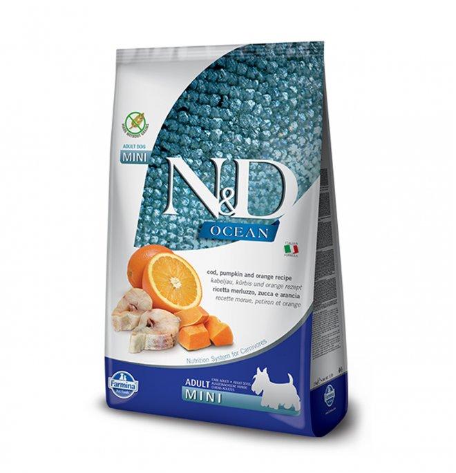 Farmina n&d delicious grain free ocean cane adult mini con merluzzo zucca e arancia da 800 gr