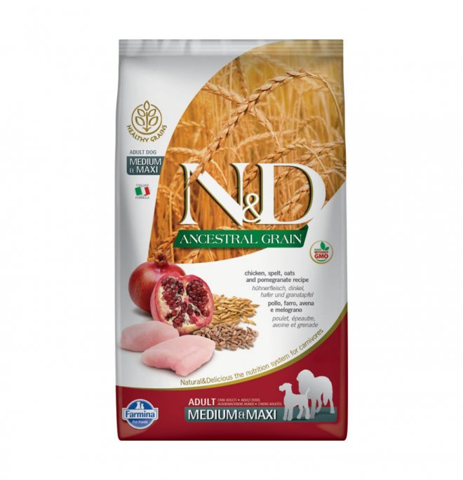 Farmina n&d delicious low grain cane adult medium e maxi con pollo e melograno da 12 kg