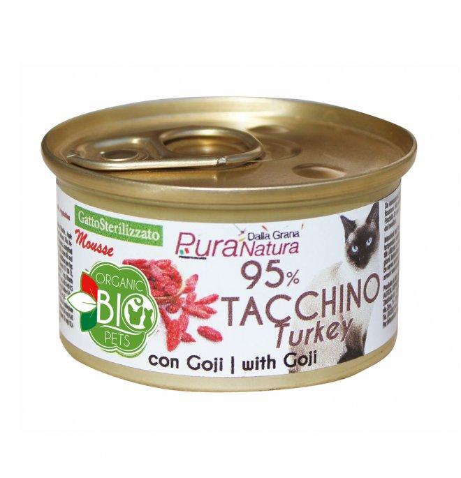 Dalla grana pura natura gatto bio sterilizzato mousse tacchino con bacche di goji da 85 gr in lattina