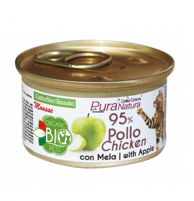Dalla grana pura natura gatto bio sterilizzato mousse pollo con mela da 85 gr in lattina