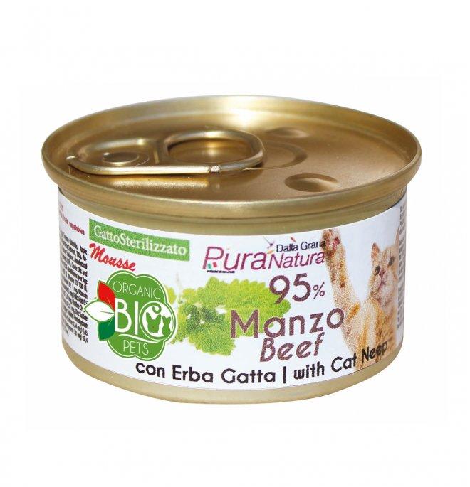 Dalla grana pura natura gatto bio sterilizzato mousse manzo con erbagatta da 85 gr in lattina