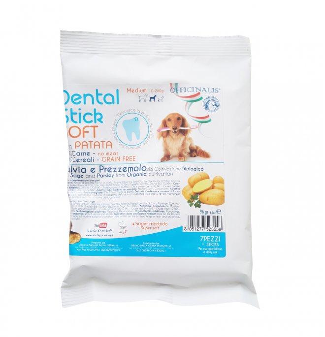 Officinalis snack cane dental stick soft grain free taglia medium con patata salvia e prezzemolo da 96 gr 7 pezzi