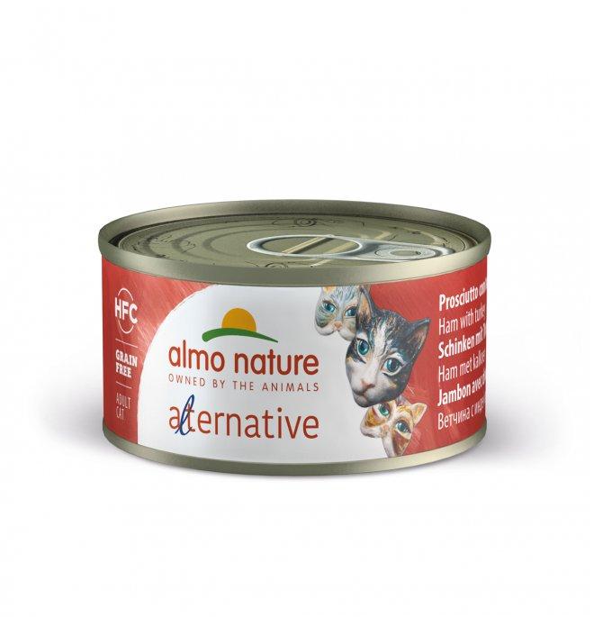 Almo nature gatto alternative hfc prosciutto con tacchino da 70 gr in lattina